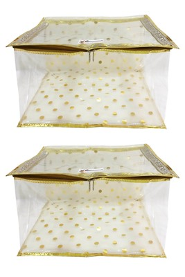 Shree Shyam Products Gold Lace And Polka Transparent 12 Inch Box Saree Cover, 2 Pcs Set