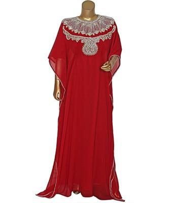 Maroon Traditional Crystal Embellished Chiffon Kaftan Abaya Farasha