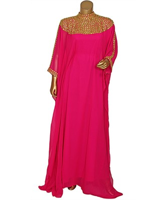 Fuchsia Pink Embroidered Beads work Georgette Kaftan Gown Abaya Maxi