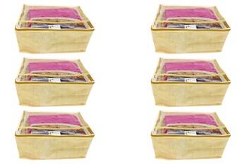 Shree Shyam Products Non Woven Linen Print Box Saree Cover, 6 Pcs Set