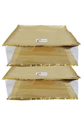 Shree Shyam Products Golden Dot Soft Plastic Box Saree Cover, 2 Pcs Set