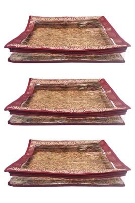 Shree Shyam Products Maroon Border Brocade Semi Transparent 2 Inch Saree Cover, 3 Pcs Set
