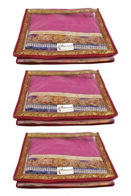 Shree Shyam Products Transparent Maroon Border 2 Inch Saree Cover, 3 Pcs Set