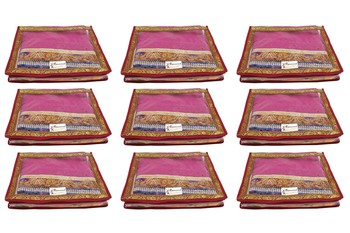 Shree Shyam Products Transparent Maroon Border 2 Inch Saree Cover, 9 Pcs Set