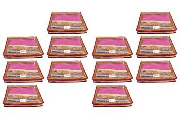 Shree Shyam Products Transparent Maroon Border 2 Inch Saree Cover, 12 Pcs Set