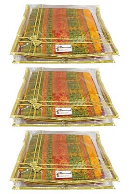 Shree Shyam Products Transparent Golden Bow 2 Inch Saree Cover, 3 Pcs Set
