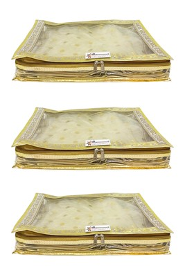Shree Shyam Products Transparent Golden Dot Tissue 2 Inch Saree Cover, 3 Pcs Set
