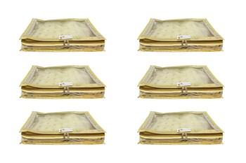 Shree Shyam Products Transparent Golden Dot Tissue 2 Inch Saree Cover, 6 Pcs Set