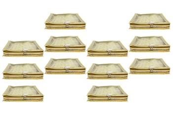 Shree Shyam Products Transparent Golden Dot Tissue 2 Inch Saree Cover, 12 Pcs Set
