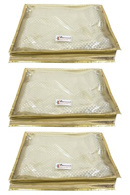 Shree Shyam Products Transparent Golden Dot 2 Inch Saree Cover, 3 Pcs Set
