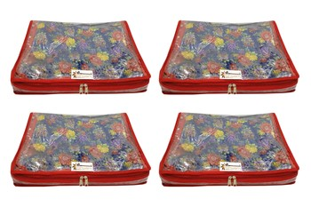 Shree Shyam Products Transparent With Bhagalpur Fabric 2 Inch Saree Cover, 4 Pcs Set