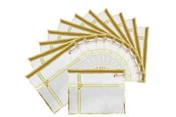 Shree Shyam Products Golden Bow Transparent Single Saree Cover, 12 Pcs Set
