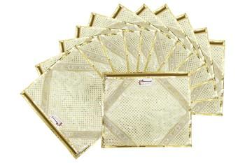 Shree Shyam Products Golden Lace Border Small Dot Transparent Single Saree Cover, 12 Pcs Set