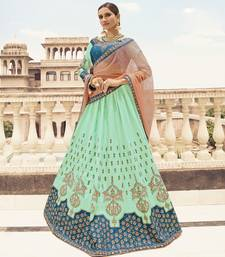 Sea Green Embroidered Silk Semi Stitched Lehenga
