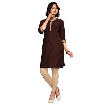 Brown plain cotton kurti