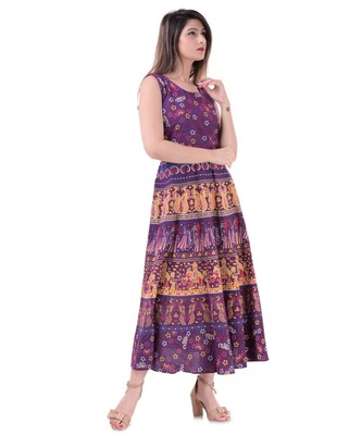 Jaipuri Stylist  Cotton Printed Women's Maxi Long Dress