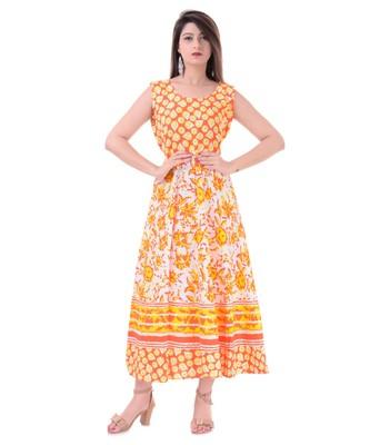 29d2f73c7b6 RUDRA Jaipuri Stylist Cotton Printed Women s Maxi Long Dress (Free Size  Upto 44-XXL) - RUDRA - 2873330