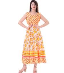 RUDRA Jaipuri Stylist  Cotton Printed Women's Maxi Long Dress (Free Size Upto 44-XXL)
