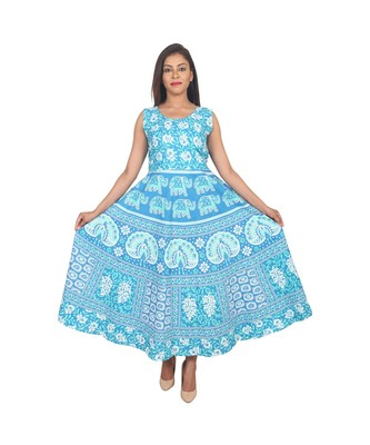 RUDRA Jaipuri Stylist  Cotton Printed Women's Maxi Long Dress (Free Size Upto 44-XXL)