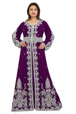 Purple Georgette Embroidered Zari Work Kaftan