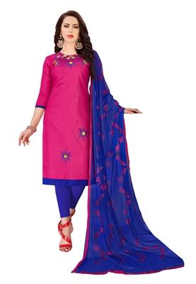 Pink  Glaze Cotton Embroidery Work Dress Material Having Work Dupatta