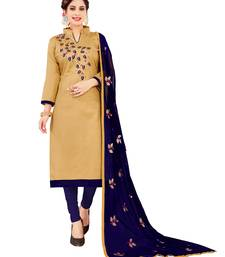 Beige  Glaze Cotton Embroidery Work Dress Material Having Work Dupatta