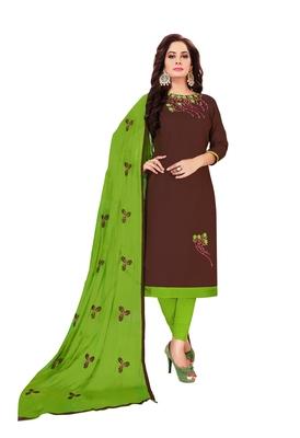 Brown  Glaze Cotton Embroidery Work Dress Material Having Work Dupatta