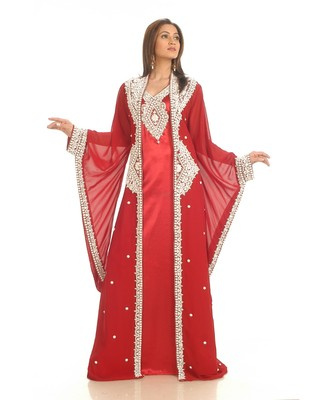 Red georgette embroidered zari work islamic-kaftans