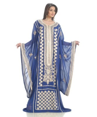 Blue Georgette Embroidered Zari Work Islamic-Kaftans