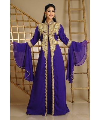 Purple Georgette Embroidered Zari Work Islamic-Kaftans