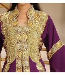 Wine Georgette Embroidered Zari Work Islamic-Kaftans