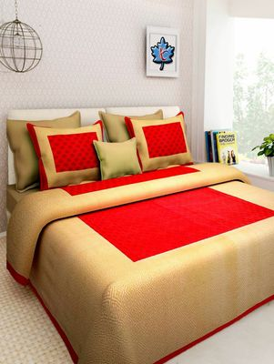 Dreamy Zone Red & Beige Cotton Jaipuri Double Bedsheet with Pillow Cover