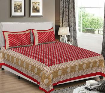 Dreamy Zone Red Cotton Jaipuri Double Bedsheet with Pillow Cover