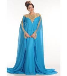 Buy blue georgette embroidered zari work islamic-kaftans