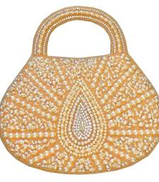Buy Textured Jute Handbag with Beaded Leaf Motif (Light Gold) handbag online