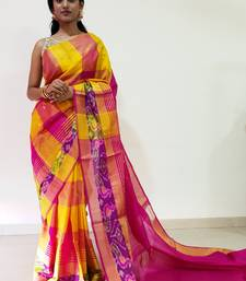 Multicolor hand woven uppada silk saree with blouse
