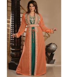 orange georgette embroidered zari work islamic-kaftans