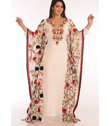 Cream georgette embroidered zari work islamic-kaftans