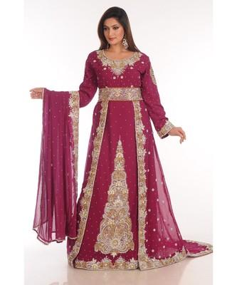 Maroon Georgette Embroidered Zari Work Islamic-Kaftans