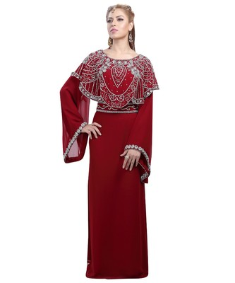 Maroon Georgette Embroidered Zari Work Islamic-Kaftans