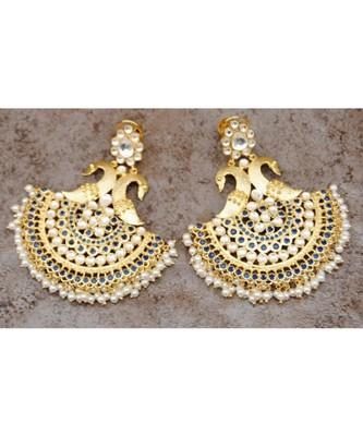Peacock Polki Chand Bali Earrings