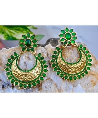 Green Kemp Chand Bali Earrings