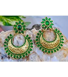 Green Kemp Chand Bali Earrings