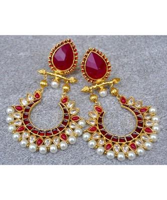 Polki Diamond Chand Bali Earrings with Ruby Drop Stud