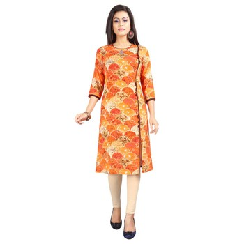 Orange printed rayon kurti