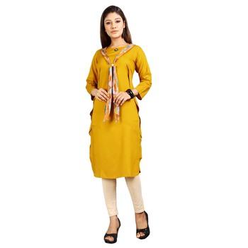 Gold plain rayon kurti