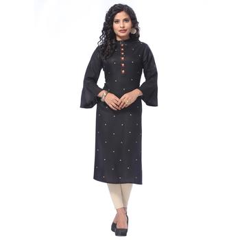 Black embroidered rayon kurti