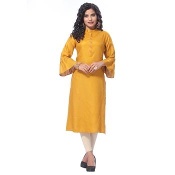 Mustard embroidered rayon kurti