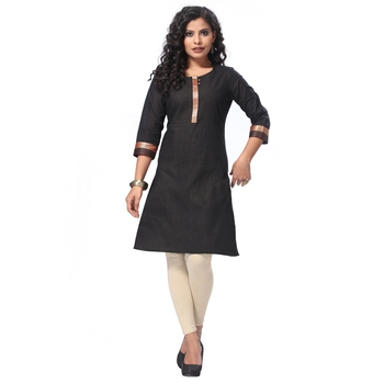 Black plain cotton kurti