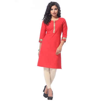 Red plain cotton kurti